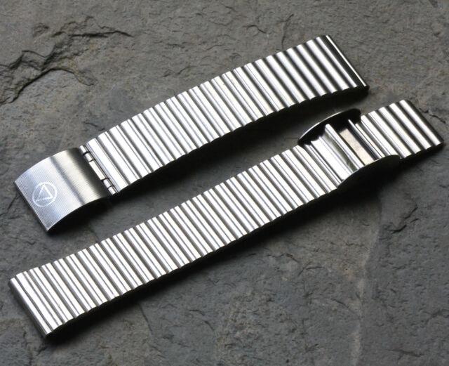 Matte steel 18mm NSA band sliding clasp Swiss Made 1960s/70s NSA watch bracelet
