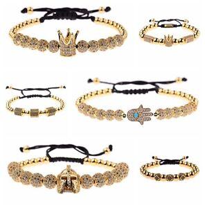 2Pcs//set Luxury Men Women Zircon Crown Balls Beads Braiding Adjustable Bracelets