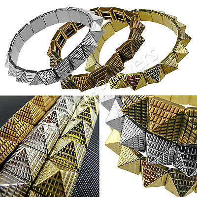 Fashion Punk Rock pyramid Gold Silver Beads Bracelets Elastic Wristband Bangle