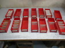Lot of 14 RED Plastic Parts Storage Bins 5 W x 12 L x  3 1/4 H Maximize Space