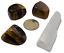 thumbnail 1 - Tigers Eye Polished Tumbled Stones 3 Piece Set and Bonus Selenite Crystal # 1