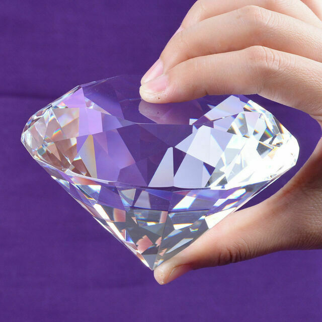 100MM Pink Crystal Home Office Decor Diamond Jewel Paperweight