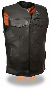 Front zip Soa Collarless Mens Leather Snap Vest Gun With Pockets Motorcycle wPI7tq4x