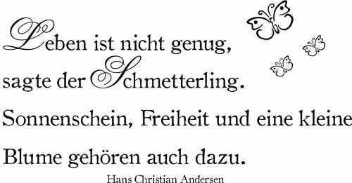 Wandtattoo Zitat  Andersen Leben Schmetterling Blume