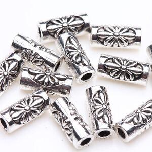 50-100Pcs-Tibetan-Silver-Flower-Tube-Spacer-Beads-DIY-Jewelry-Findings-8-3mm