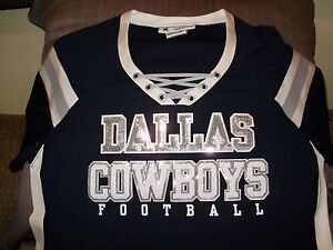 1ef74484 Details about NFL Dallas Cowboys Sparkle Bling Sequins Fitted Jersey Shirt  Women's Size Large