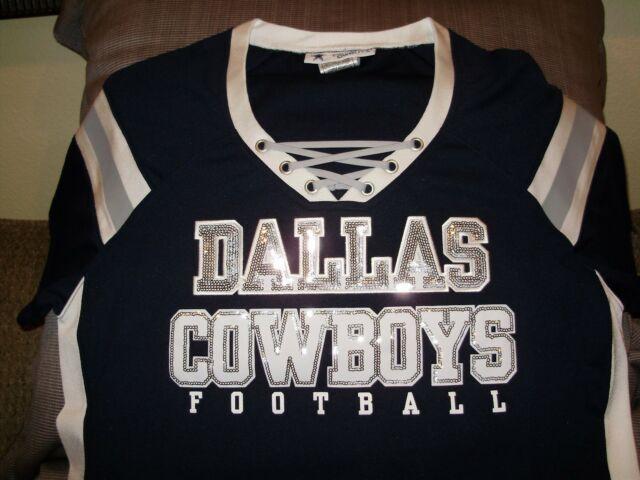 NFL Dallas Cowboys Sparkle Bling Sequins Fitted Jersey Shirt Women s Size  Large 742348e16