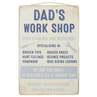 Shabby Chic Metal Wall Hanging Sign Plaque Workshop Dad/'s Work Shop