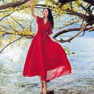 Womens Red Summer Vintage Chiffon