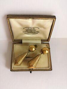 Vintage Art Deco 1930s Machine Age Modernist Brass Toroedo Clip Dangle Earrings