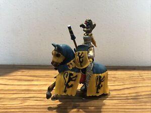 Schleich Figur Ritter Schild Löwe Kreuzritter auf Pferd Blau Gelb Sehr Selten