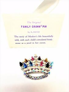 B-David-Family-Crown-Pin-Vintage-Brooch-Plus-Card