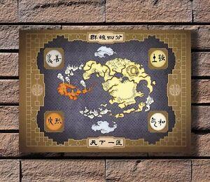 American cartoon art-Avatar the last Airbender Map 24x36 40in Silk ...