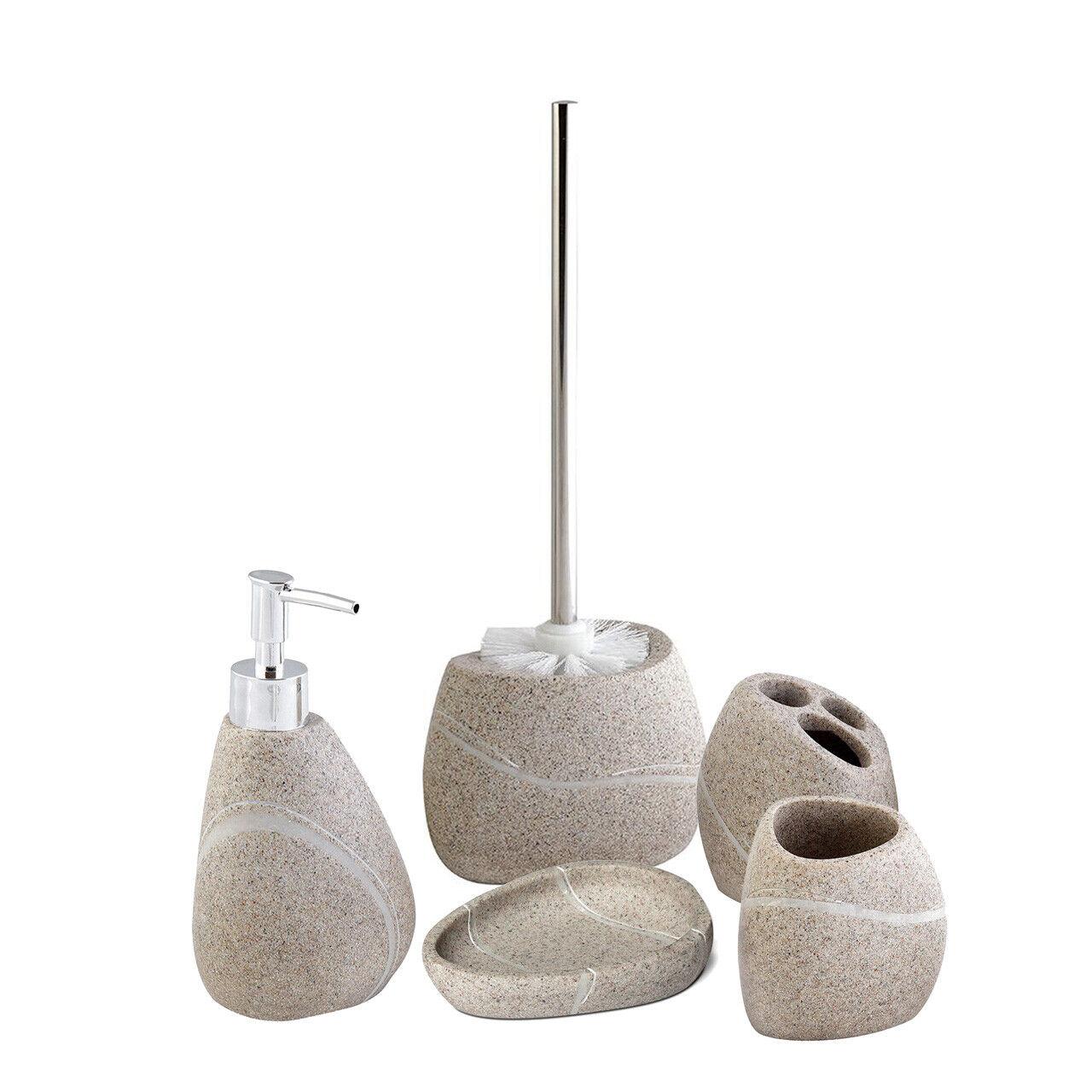 5-tlg Badset - Seifenspender Becher WC-Bürste Seifenschale aus Polyresin