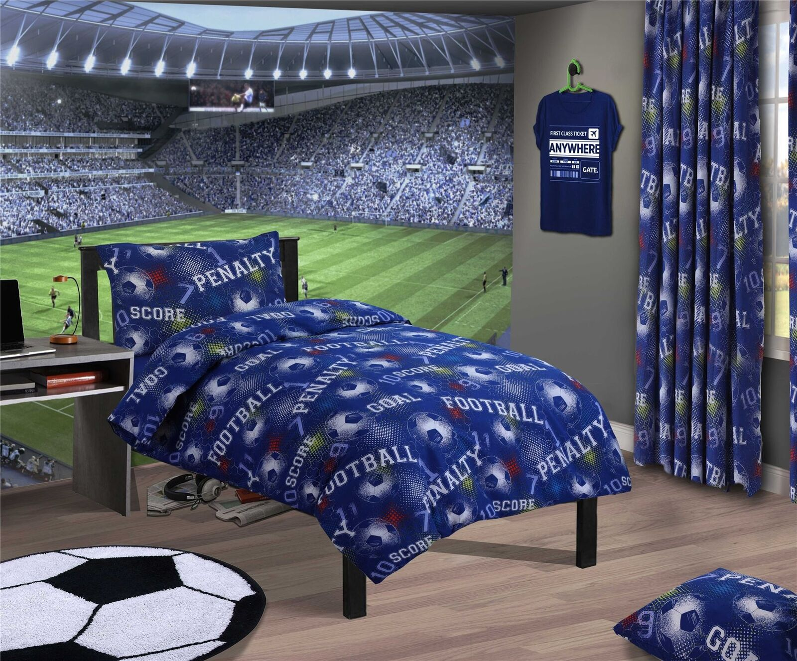 2 X FOOTBALL SOCCER NUMBERS GEOMETRIC Blau COTTON BLEND König Größe DUVET StKunstseiteS