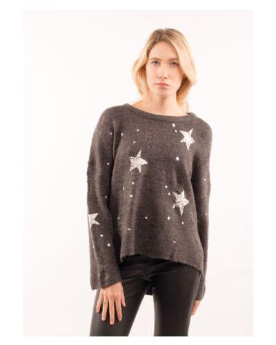 a Stitch lana larghe Grigio misto punto con Maglia stampa con in grigio chiaro maniche scuro HnwfEBTqB