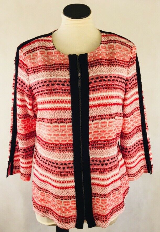 NWT Misook Zip Heritage Fit Cardigan  Sweater- Size Large