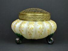 Large iridescent ribbed & enamelled mother pearl glass vase Art Nouveau Bohemian