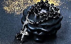 Herren-Damen-Rosenkranz-Kreuz-Kette-Halskette-Jesus-Perlenkette-Silber-Schwarz