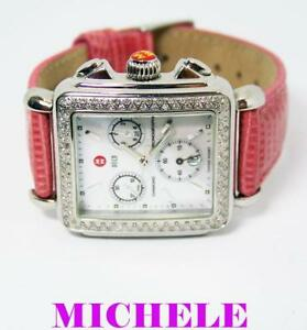eeaa5b9a4 Image is loading MICHELE-DECO-Chronograph-Watch-Diamond-Bezel-Mother-of-