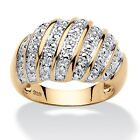 14k Yellow Gold-over-Silver Diamond Accent Fashion Dome Ring