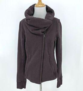 Lululemon-Jacket-Women-039-s-Size-8-Snap-Buttons-Cowl-Neck-Moto-Full-Zip-Sweater-Top