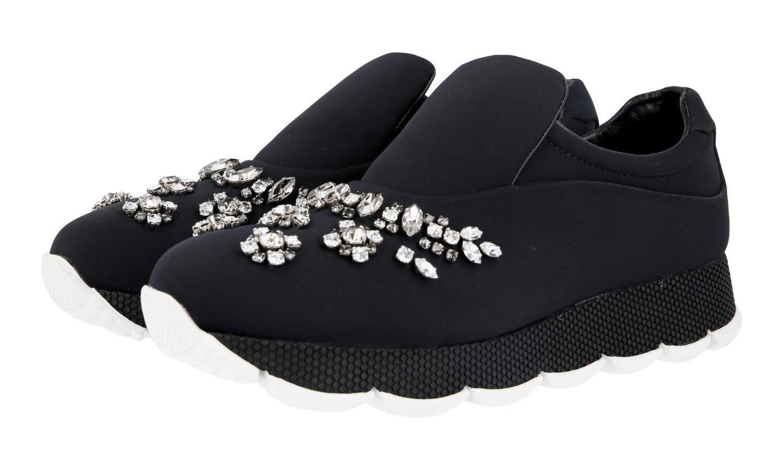 shoes PRADA LUXUEUX 1S040H black CRYSTALLO NOUVEAUX 37 37,5