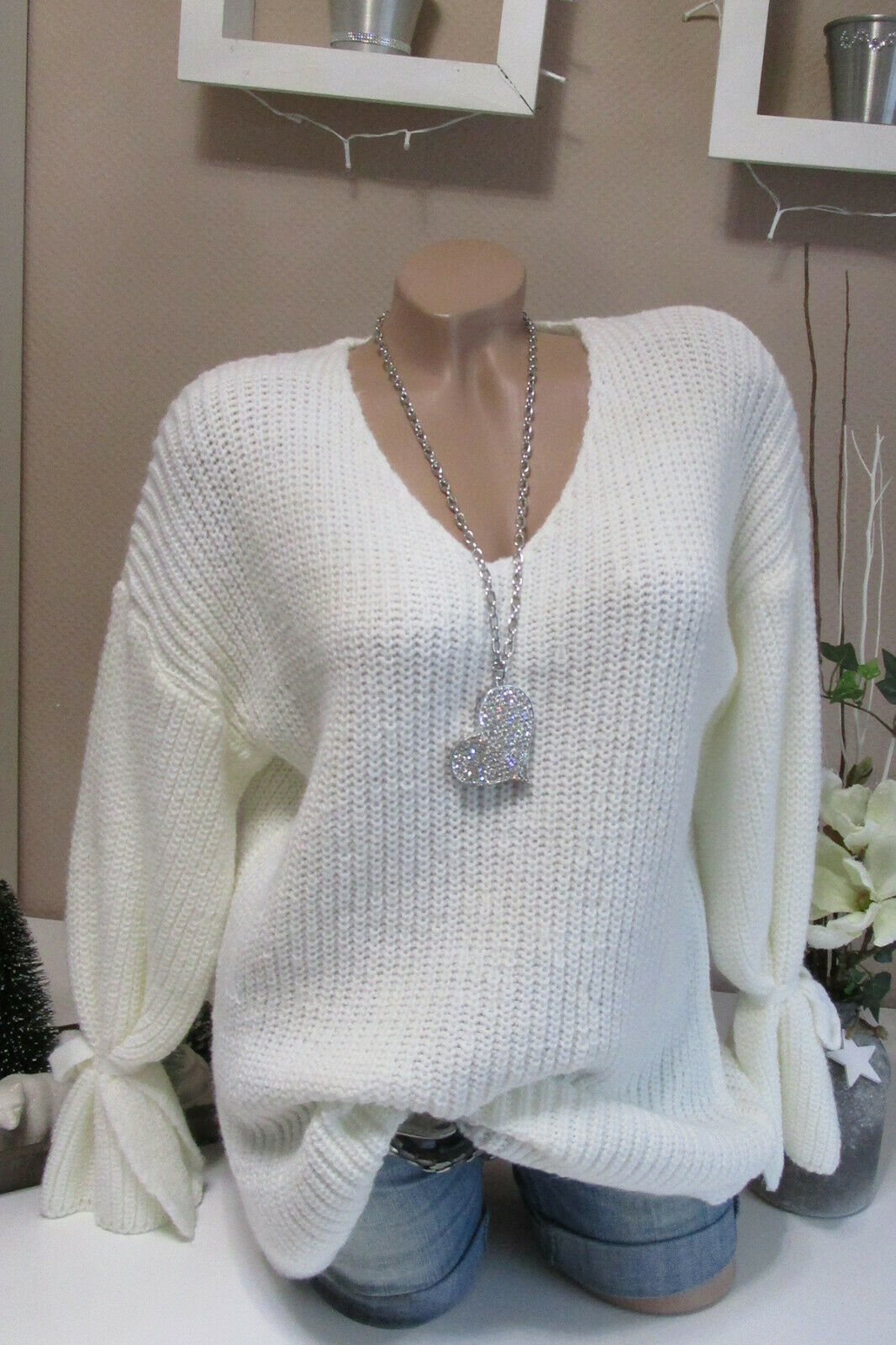 Warm Cuddle Knitted Jumper Chunky Jumper Vintage Oversize White Bow 36-40
