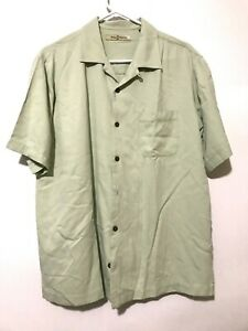 Tommy-Bahama-Mens-100-Silk-Short-Sleeve-Dress-Shirt-Green-Size-Medium
