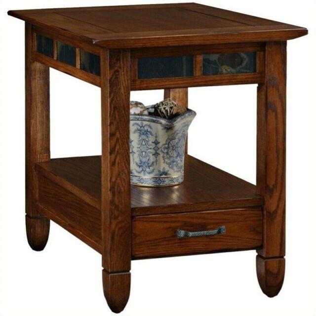 Leick Furniture Slatestone Storage End Table In A Rustic Oak Finish