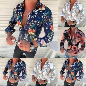 Men-039-s-Slim-Long-Sleeve-Flower-Printed-Shirt-Fit-Slim-Button-Front-Blouse-Tops