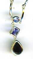 925 Sterling Silver Necklace 3 Blue Stones Different Shades & Shapes Length 16
