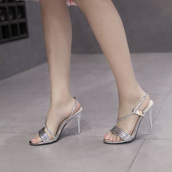 Sandali eleganti lucido tacco stiletto 11 cm silver lucido eleganti simil pelle eleganti 9840 4b7a64