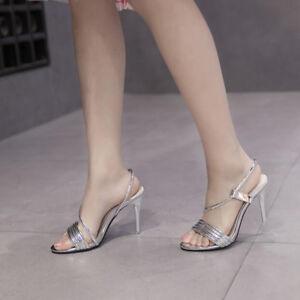 Tacco Stiletto Sandalei Silver Eleganti Silver Sandalei Lucido Cm 11 Simil 9840 Pelle ... a98be6