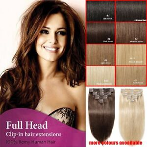 Premium-Clip-in-Hair-Extensions-FULL-HEAD-100-Real-Human-Remy-Hair-Double-Weft