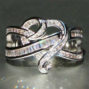 Beauty-925-Silver-White-Topaz-Infinity-Jewelry-Women-Engagement-Ring-Size5-12