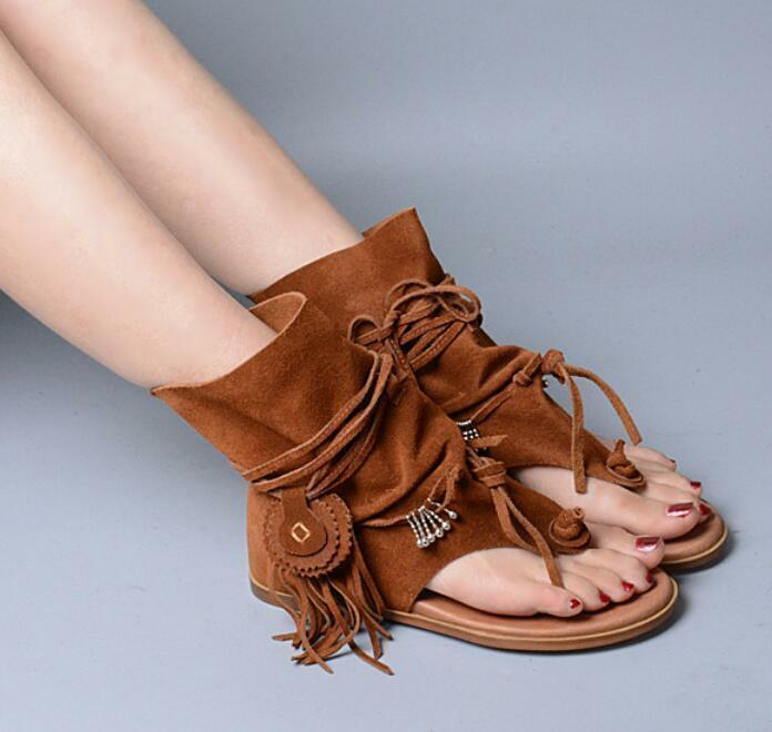 New Womens Retro Flat Suede Tassel Gladiator Bohemia Thong Sandals Slouch Boot