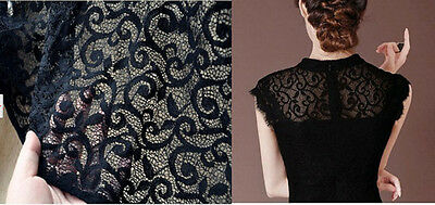 "Lace Fabric Black Retro Wedding Fabric 55.1"" width 1 yard"