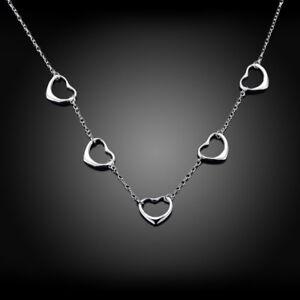 ASAMO-Damen-Halskette-5-Herzen-925-Sterling-Silber-plattiert-Herzkette-HA1121