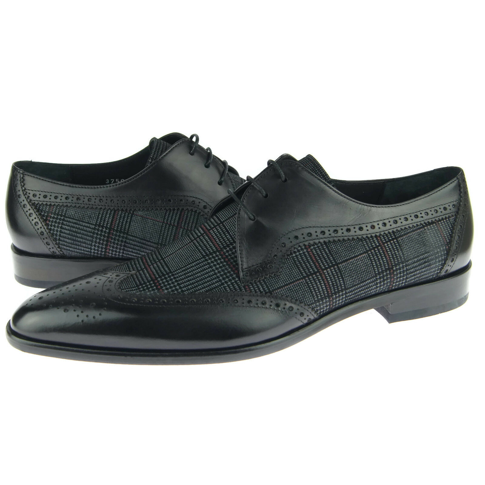 Corrente 3750 Wingtip Derby, Men's Dress Leather Oxford scarpe, nero