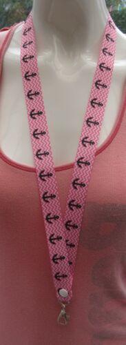 Anchor sea safety breakaway lanyard keys 2 sizes ID badges pink cruise cruising