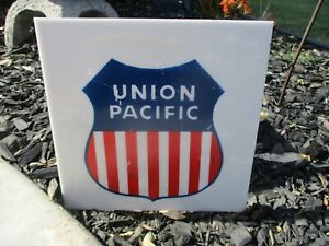 Details about Rare Authentic Union Pacific Plastic Sign Railroad RR  Locomotive Train Man Cave