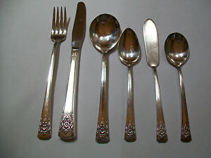 Original Rogers Deluxe Plate Mountain Rose Flatware By The