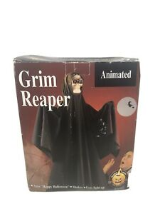 VINTAGE 1993 HALLOWEEN  Hanging GEMMY ANIMATED GRIM REAPER WITH BOX