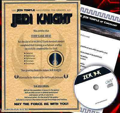 Star WARS JEDI KNIGHT Certificate plus FREE GAME and letter ...