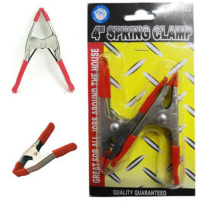 """4""""x 10 Spring Clamp Metal Clip Rubber Coated Hold DIY Tipped Grip Holder Clamps"""