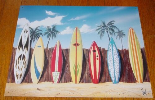 TROPICAL PALM TREES SURFBOARDS BEACH FENCE Surfing Sign Surfer Home Decor NEW