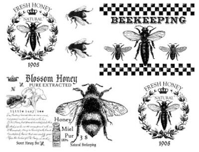 Vintage Image French Honey Bees Furniture Transfers Waterslide Decals MIS658