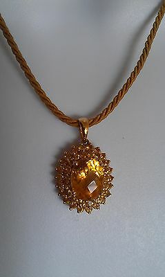 "14k Yellow Gold Citrine Multi-stone Pendant on Golden Rope 17.5"" Necklace  3.4g"