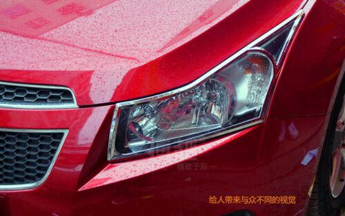 Chromed Head Light Lamp Cover Trim 2PCS For Chevrolet Chevy Cruze HB 2012-2016